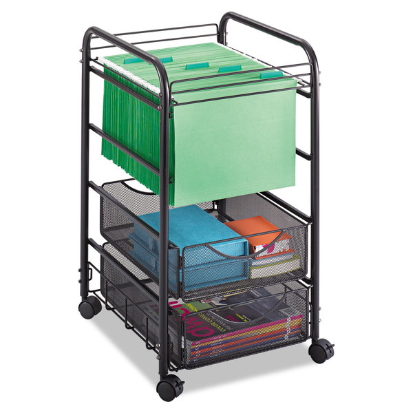 Safco Onyx Mesh Open Mobile File Two-Drawers 15-3/4-inch wide x 17-inch deep x 27-inch high Black 23219405