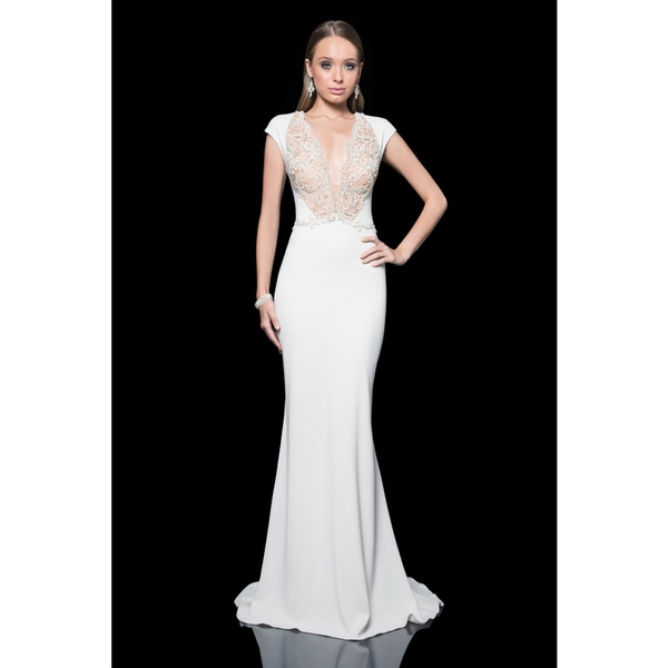 Terani Couture Cap Sleeve Stretch Crepe Gown 23224904