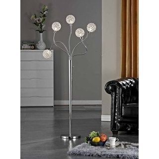 "Artiva USA SOHO 65""H Modern 5-Light Brushed Steel Crystal Balls Floor Lamp with Dimmer"