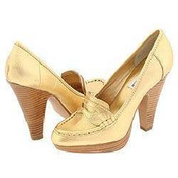 Steve Madden Oldiee Gold Leather Pumps/Heels
