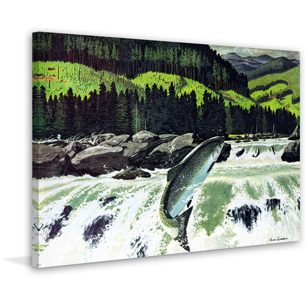 Marmont Hill - 'Salmon Run' Painting Print on Wrapped Canvas 23230448