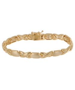 Mondevio 18k High-polish Vermeil Yellow Gold-over-silver X and O Link Bracelet