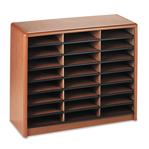 Safco Steel/Fiberboard Literature Sorter 24 Sections 32 1/4 x 13 1/2 x 25 3/4 Oak 23232939