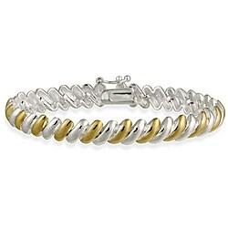 Mondevio Sterling Silver Two-tone San Marco Bracelet