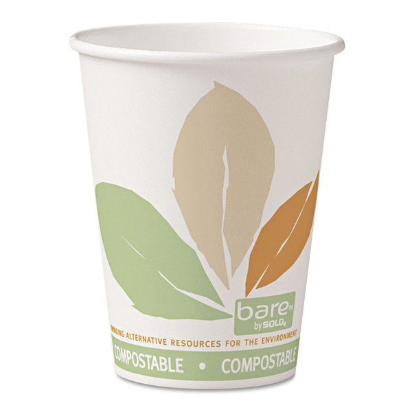 SOLO Cup Company Bare PLA Paper Hot Cups 12oz White with Leaf Design 50/Bag 20 Bags/Carton 23234886