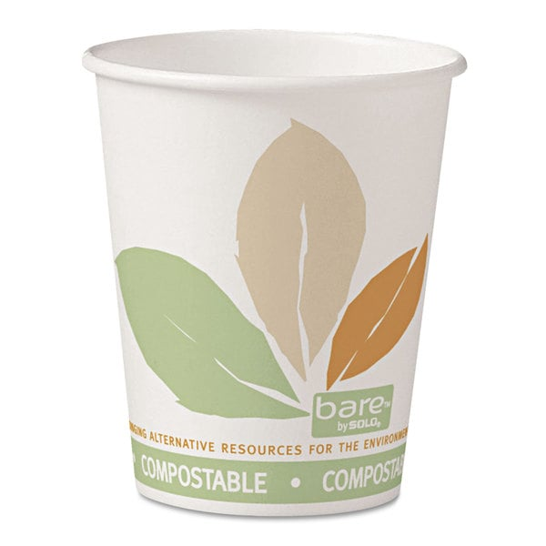 SOLO Cup Company Bare PLA Paper Hot Cups 10oz White with Leaf Design 50/Bag 20 Bags/Carton 23234889