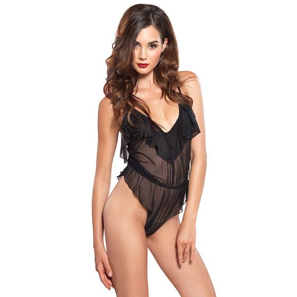 Leg Avenue Sexy Sheer Black Nylon High Cut Flutter Ruffle Teddy with Brazilian Back 23248863