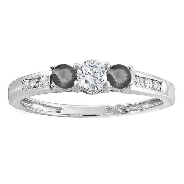 14K White Gold 1/3 ct. TDW Round Black & White Diamond Ladies 3 Stone Engagement Bridal Ring 23254163