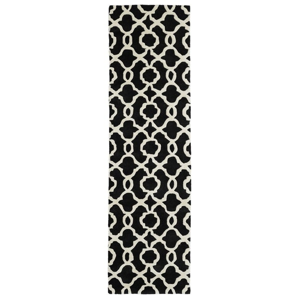 Cosmopolitan Black Trellis Rug (2'3 x 8'0) - 2'3 x 8' 23260003