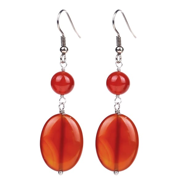 Sterling Silver 9.90ct Red Agate Dangling Earring 23266800
