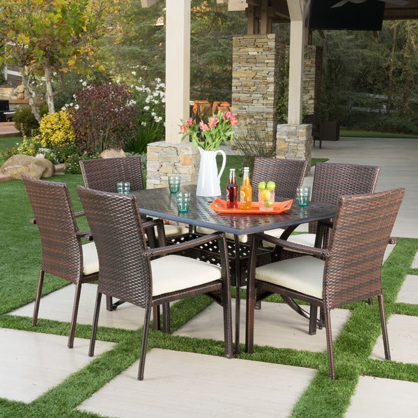 Solomon Outdoor 7-piece Rectangle Dining Set with Cushions by Christopher Knight Home -  299519