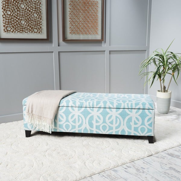 Cleo Patterned Fabric Storage Ottoman Bench by Christopher Knight Home 23273491