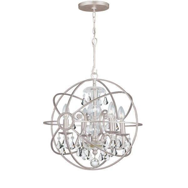 Crystorama Solaris Collection 4-light Olde Silver/Crystal Mini Chandelier 23275703