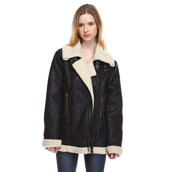 Women's Lada Black Leather and Faux Fur Biker Jacket 23277163