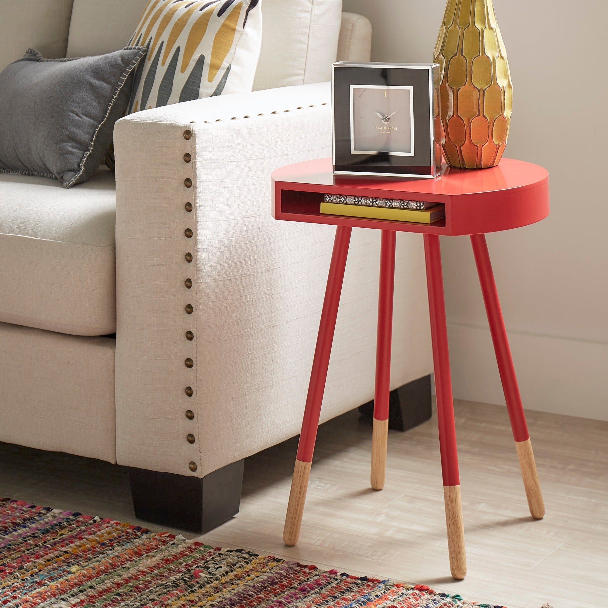 marcella paintdipped round end table inspire q modern  ebay - marcellapaintdippedroundendtableinspireq