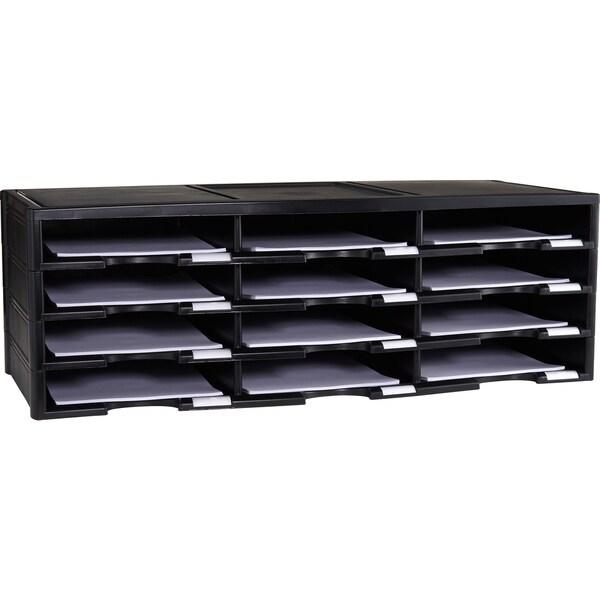 Storex Black Plastic 12-compartment Literature Organizer/Document Sorter 23290649