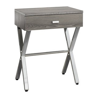 Dark Taupe Chrome Metal Accent Table/Nightstand