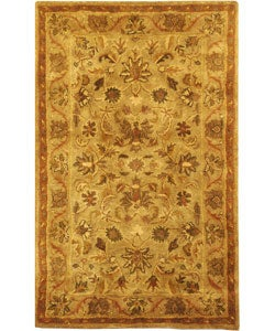 Handmade Antiquities Kasadan Olive Green Wool Rug (2' x 3')