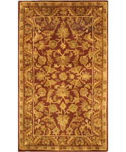 Handmade Exquisite Wine/ Gold Wool Rug (3' x 5')