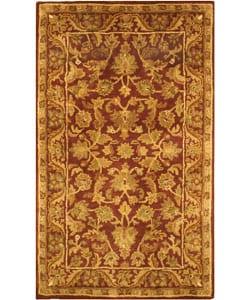 Handmade Exquisite Wine/ Gold Wool Rug (3' x 5')