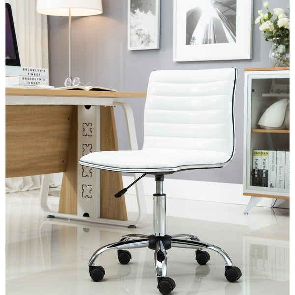 Swivel Mid Back Armless Ribbed Task Leather Upholstery Office Chair, White 23299697