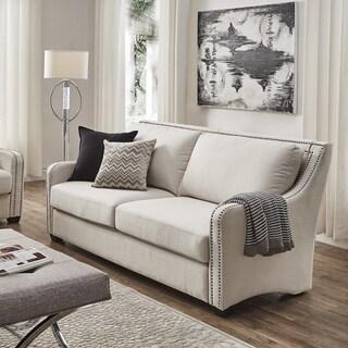 Faizah White Linen Nailhead Sloped Arm Sofa by iNSPIRE Q Artisan