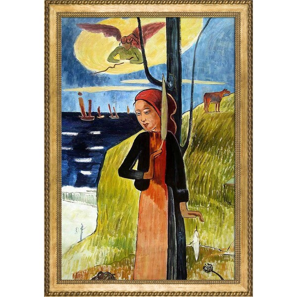 Paul Gauguin 'Jeanne d'Arc, or Breton Girl Spinning, 1889' Hand Painted Framed Oil Reproduction on Canvas 23310045