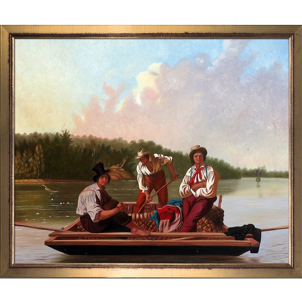 George Caleb Bingham 'Boatmen on the Missouri, 1846' Hand Painted Framed Oil Reproduction on Canvas 23310068