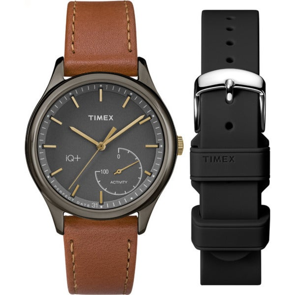 Timex Women's TWG013800 IQ+ Move Activity Tracker Brown Leather Strap Watch Set With Extra Black Silicone Strap