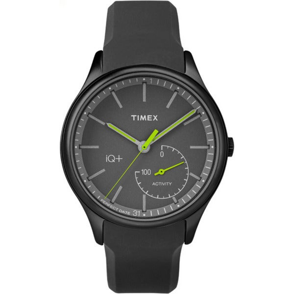 Timex Men's TW2P95100 IQ+ Move Activity Tracker Gray/Black/Lime Silicone Strap Watch - grey