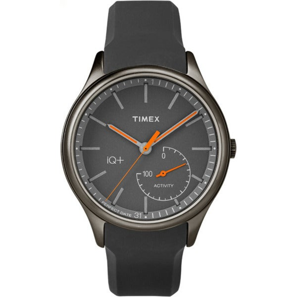 Timex Men's TW2P95000 IQ+ Move Activity Tracker Gray/Black/Orange Silicone Strap Watch - grey