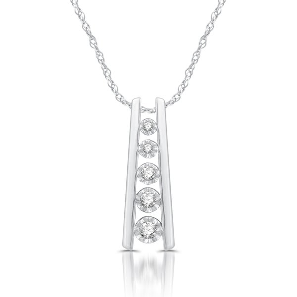 Sterling Silver 1/6ct TDW White Diamond Ladder Five-stone Pendant 23328230