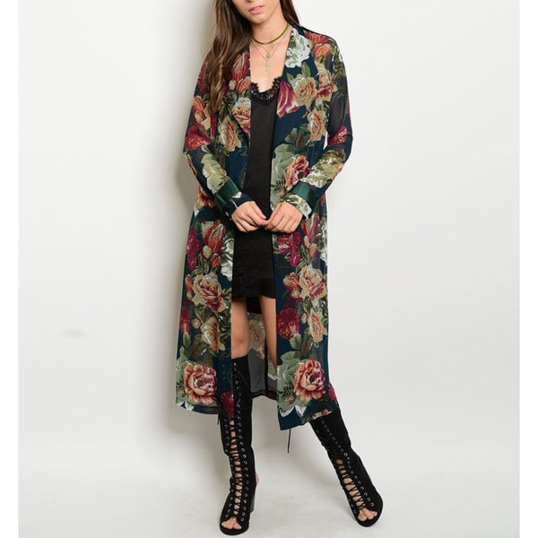 JED Women's Long Length Festival Floral Print Chiffon Cardigan 23330496