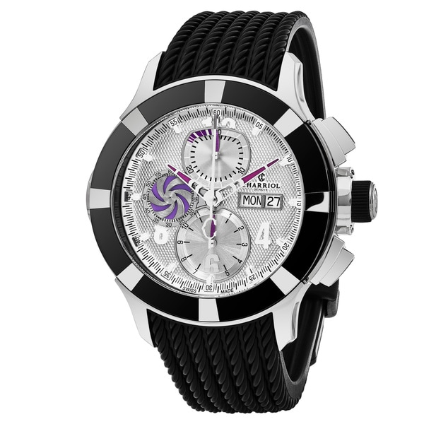 Charriol Men's C46AB.173.001 'Celtica' Silver Dial Black Rubber Strap Chronograph Swiss Automatic Watch 23335946