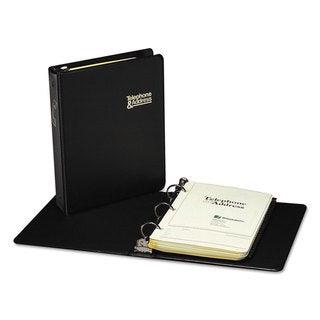 Wilson Jones Looseleaf Phone/Address Book 1-inch Capacity 5 1/2 x 8 1/2 Black Vinyl 80 Sheets