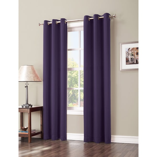 Sun Zero Hayden Grommet Blackout Window Curtain Panel 63-inches in Charcoal(As Is Item) 23339617