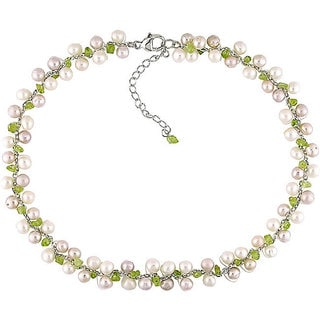 Sterling Silver Freshwater Cultured Pearl Peridot Necklace (5-6 mm) with Bonus Earrings