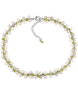 Sterling Silver Freshwater Cultured Pearl Peridot Necklace (5-6 mm)