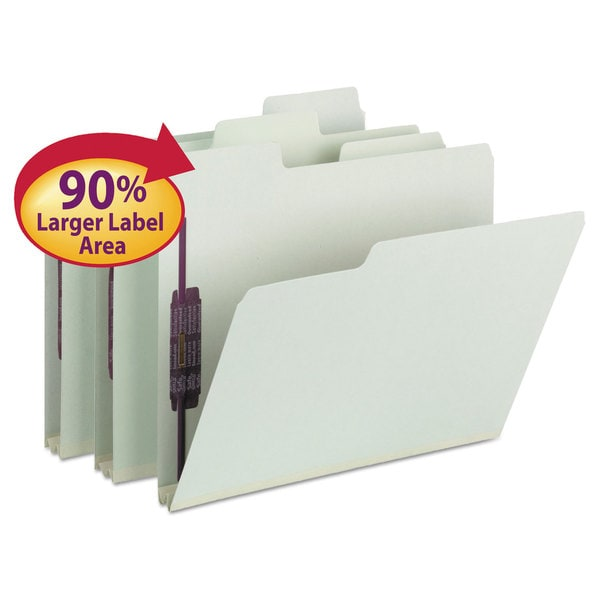 Smead SuperTab Folders with SafeSHIELD Fasteners 1/3 Cut Letter Grey/Green 25/Box 23341296