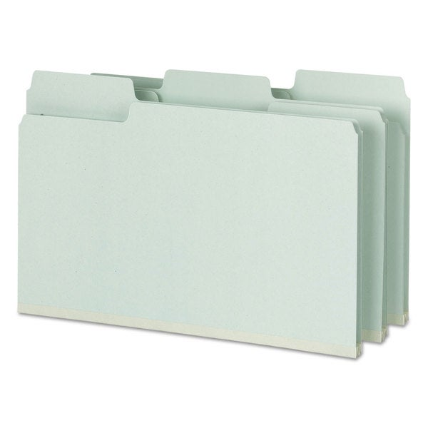 Smead SuperTab Folders with SafeSHIELD Fasteners 1/3 Cut Legal Grey/Green 25/Box 23341318