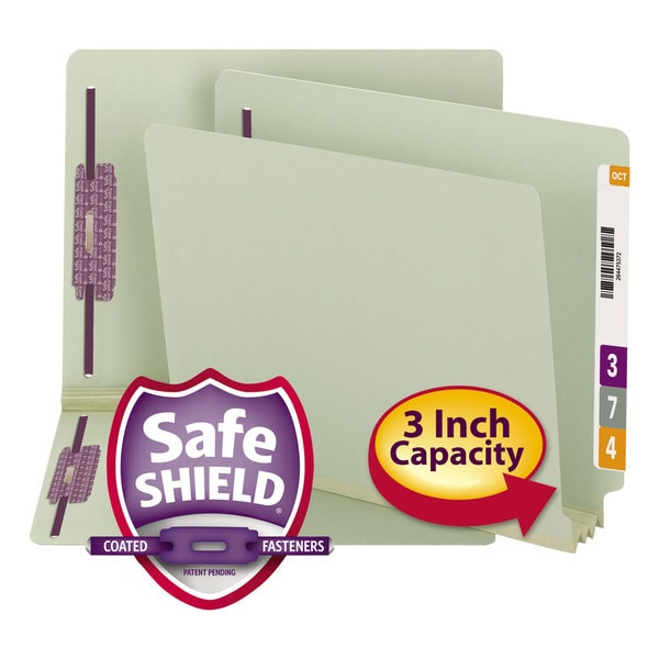 Smead Three Inch Expansion Folder Two Fasteners End Tab Letter Grey Green 25/Box 23341547