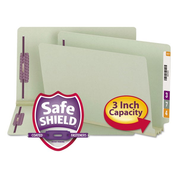 Smead Three Inch Expansion Folder Two Fasteners End Tab Legal Grey Green 25/Box 23341549