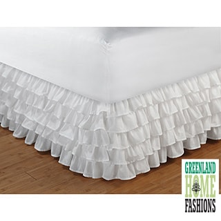 Greenland Home Fashions Cotton-blend Multi-ruffle White 15-inch Drop Bedskirt