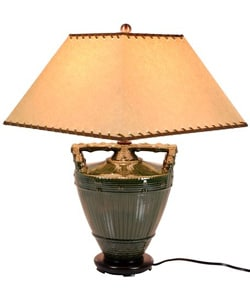 Rustic Oriental Green Porcelain Lamp (China)