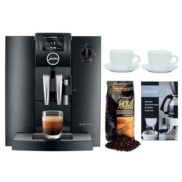Jura IMPRESSA F8 Automatic Coffee Machine + Capresso Grand Aroma Espresso Bean + Descaling Powder & Cup/Saucer Set (Refurbished) 23362255