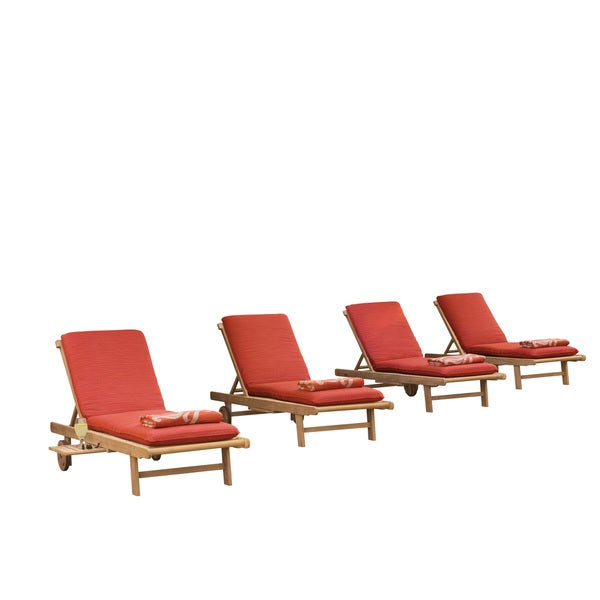 Oxford Garden Oxford Chaise Lounge 4-piece Lounge Set with Dupione Papaya Cushion 23362382