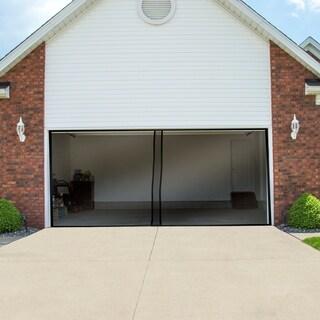 Pure Garden Two Car Garage Door Screen Curtain Black 202 x 90 inches