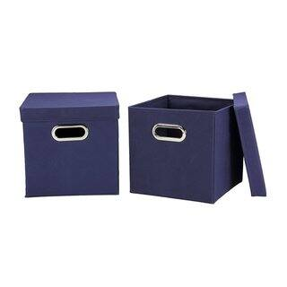 Lidded Navy Storage Cubes (Pack of 2)