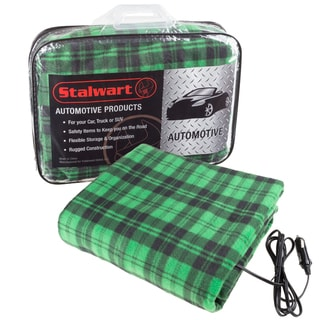 Stalwart 12 Volt Green Plaid Electric Blanket for Automobile