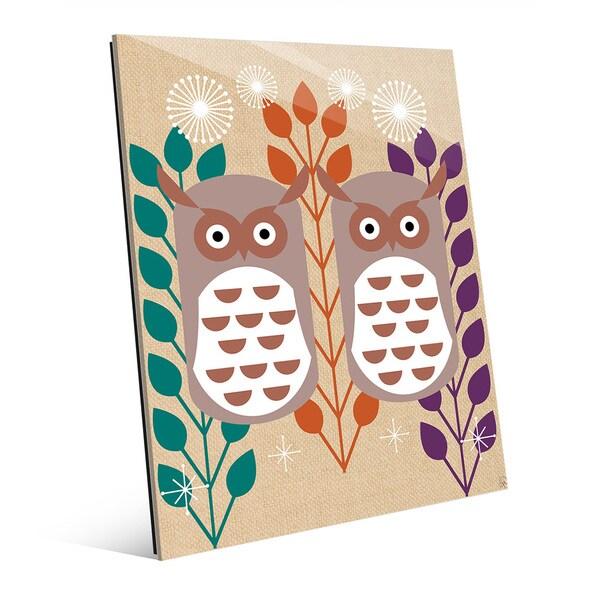 Retro Owls Orange Glass Wall Art Print 23367373